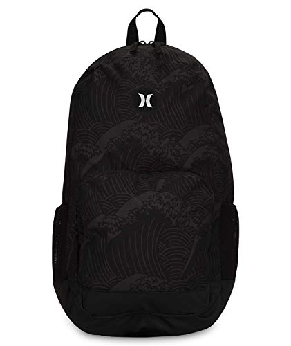 Hurley Renegade Laptop Backpack, Black/(White) (Waves), one size