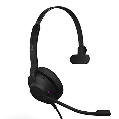 Jabra Evolve2 30 MS Wired Headset, USB-A, Mono, Black – Lightweight, Portable Telephone Headset with 2 Built-in Microphones – Work Headset with Superior Audio and Reliable Comfort