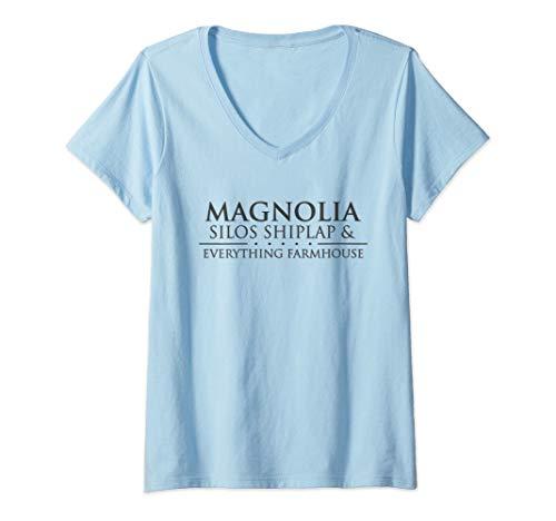 Womens Magnolia Silos & Everything Farmhouse V-Neck T-Shirt