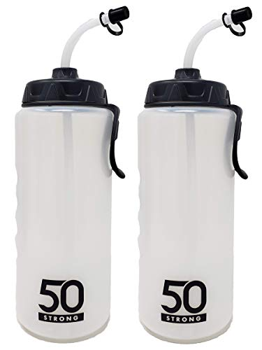 1 Liter Sports Water Bottle W/Straw - Easy Squeeze + Built in Finger Grip & Carry Loop - BPA Free Plastic - Use W/Sport Helmet in Football & Hockey - Single & Multi-Pack (2-Pack)