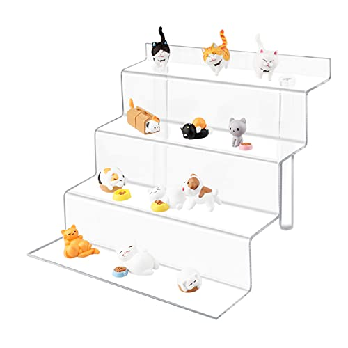 TSCXWFV Acrylic Riser Display Stand,4 Tier Acrylic Riser Display Shelf,Clear Acrylic Display Riser,Acrylic Shelves for Collectibles Amiibo Pops Figures, Cupcakes, Perfumes