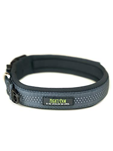 Mighty Paw Neoprene Padded Running Dog Collar, Premium Quality Sports Collar with Reflective Stitching, Extra Comfort for Active Dogs (Grey- Medium 15-18')