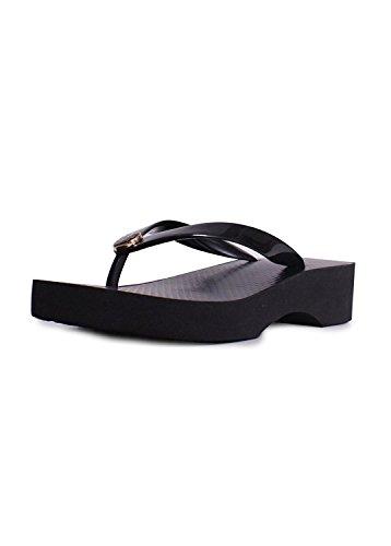 Tory Burch Cut-Out Wedge Flip Flop Black Sandal (10)