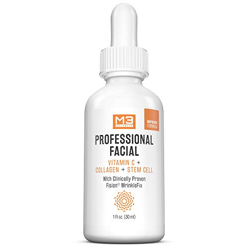 M3 Naturals Professional Facial Infused with Clinically Proven Fision Wrinkle Fix, Collagen, Stem Cell, and Vitamin C to Help Lift and Firm Face Under Eye Dark Circles Anti Aging Serum 1 fl oz