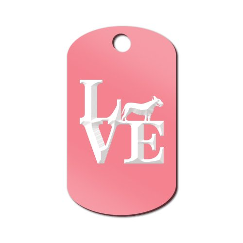 Mister Petlife Love Bull Terrier Engraved Keychain/GI Tag Park Bully Pit Bull Pink