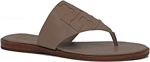 Tory Burch Jamie Logo Flat Thong Sandal (6, French Gray)