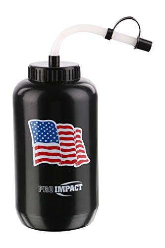 Pro Impact Boxing Water Bottle - Squeezable Plastic w/Long Straw - Ideal for Gym Yoga Sports Boxing Lacrosse Football Baseball Hockey Cycling & Outdoors (35.5 Oz.) (Black American Flag)