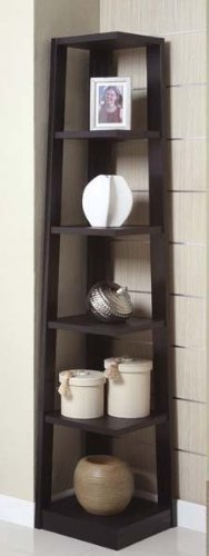 Poundex Corner Bookshelf, Black