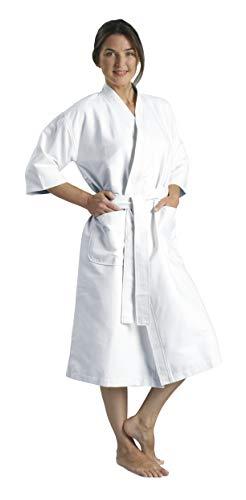 MONARCH Chamois Microfiber Kimono Hotel Robe - Lightweight Absorbent Soft Spa Bathrobe in White/OSFM Cypress