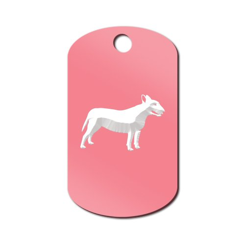 Mister Petlife Bull Terrier Engraved Keychain/GI Tag Bully Pit Bull Pink