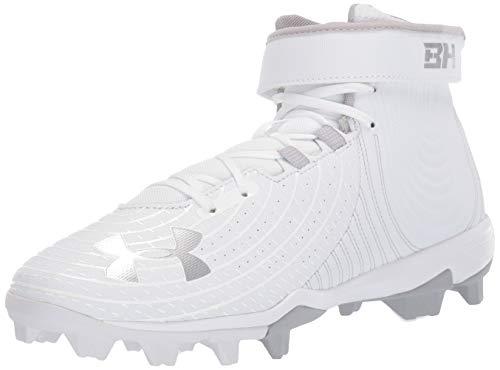 Under Armour Men's Harper 4 Mid RM Baseball Shoe, White (101)/White, 10.5