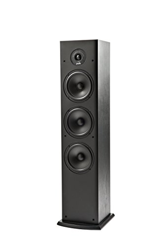 Polk Audio T50 150 Watt Home Theater Floor Standing Tower Speaker (Single, Black) - Hi-Res Audio with Deep Bass Response   Dolby and DTS Surround