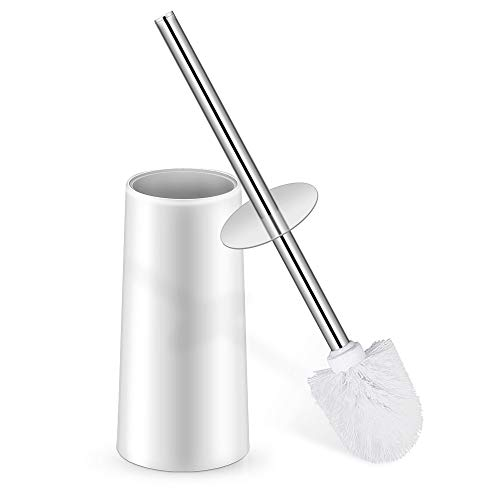 Toilet Bowl Brush and Holder, Toilet Brush Holder Stainless Steel Handle Durable Bristles Deep Cleaning Compact Bathroom Brush Save Space Good Grip Anti-Drip