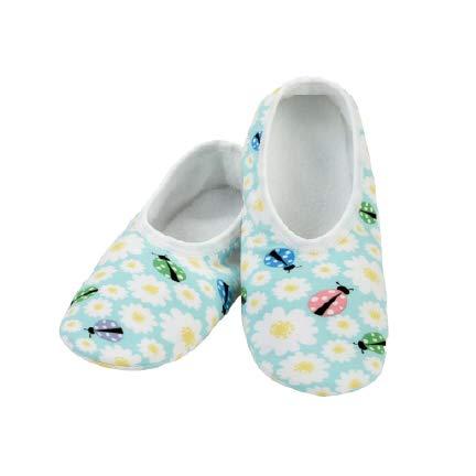 Snoozies Womens Slipper Socks - Skinnies - Travel Slippers for Women - Lightweight Slippers for Indoor Use - House Slippers - Daisies & Ladybugs - Medium