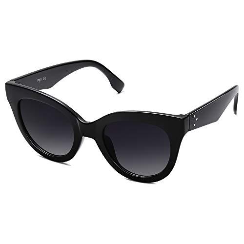 SOJOS Retro Vintage Oversized Cateye Women Sunglasses Designer Shades HOLIDAY SJ2074, Black/Grey