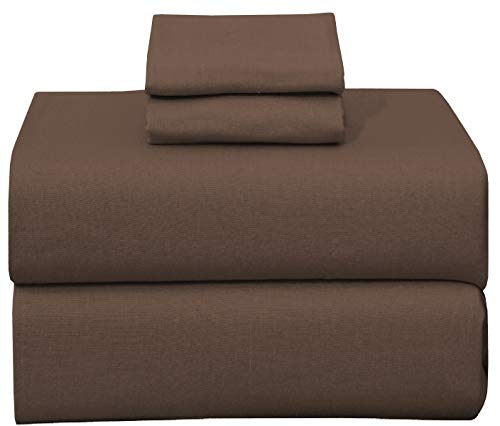 Ruvanti 100% Cotton 4 Piece Flannel Sheets Full Dark Brown Deep Pocket -Warm-Super Soft - Breathable Moisture Wicking Flannel Bed Sheet Set Full Include Flat Sheet, Fitted Sheet 2 Pillowcases