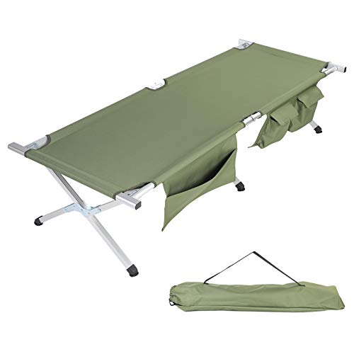 TOPKIN Camping Cot, Portable Folding Cot Bed for Camping Hunting & Backpacking Compact Collapsible Heavy Duty Camp Cot with Side Pockets & Storage Bag for Outdoor & Indoor