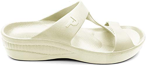 Ponte Premium Sandals for Women - High Comfort Womens Sandals (Size 7, 8, 9, 10) Great Arch Support Womens Slides (10, White)