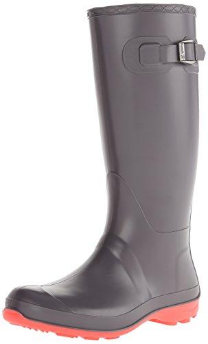 Kamik Women's Olivia Rain Boot, Charcoal W PINK BOTTOM, 7 M US