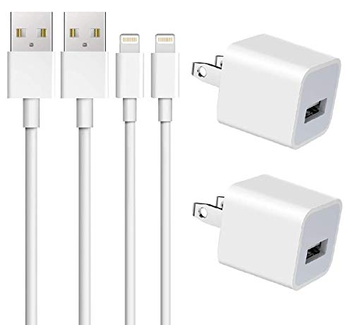 iPhone Charger, Apple MFi Certified Lightning Cable, ZOYOL Data Sync Charging Cords with USB Wall Charger Compatible iPhone 12 11 XS XR X 8 7 6s 6 Plus SE 5s, iPad Mini Air Pro, iPod, AirPods [2-Pack]