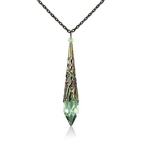 HALONA Crystal Healing Stone Pendant Necklace for Women, Vintage Antique Gothic Jewelry for Women, Swarovski Crystal Inlayed, 18+2' Adjustable Chain Length-Peridot