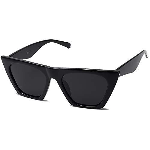 SOJOS Vintage Cateye Polarized Women Sunglasses Trendy Oversized SJ2115, Black/Grey