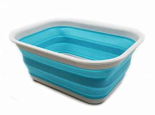 SAMMART 15L (3.96 Gallon) Collapsible Tub - Portable Outdoor Picnic Basket/Crater - Foldable Washing Tub - Space Saving Storage Container (Grey/Bright Blue (L))