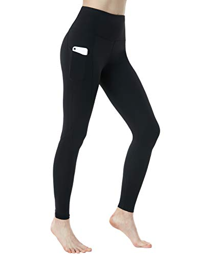 TSLA High Waist Yoga Pants with Pockets, Tummy Control Yoga Leggings, Non See-Through 4 Way Stretch Workout Running Tights, Unique(fgp54) - Black, Medium