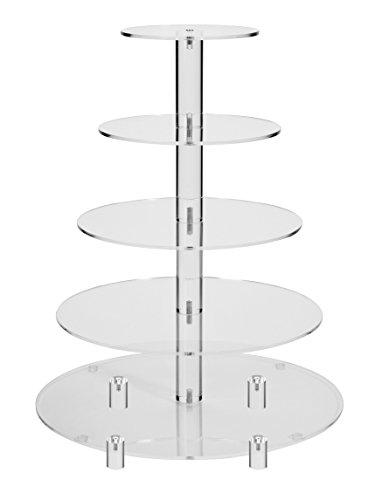 Jusalpha 5 Tier Round Acrylic Cupcake Stand-cake stand-dessert stand, cupcake Tower 5RFs (5 Tier With Base)