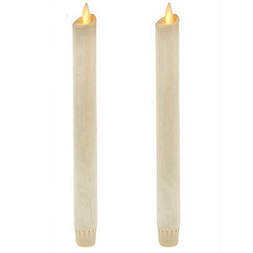 Ksperway 8' Set of 2 Ivory Unscented Wax Flameless Taper Candles Moving Wick LED Candle with Timer and Remote