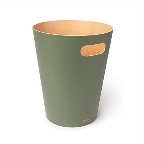 Umbra 082780-1095 Woodrow 2 Gallon Modern Wooden Trash Can Wastebasket or Recycling Bin for Home or Office, Spruce
