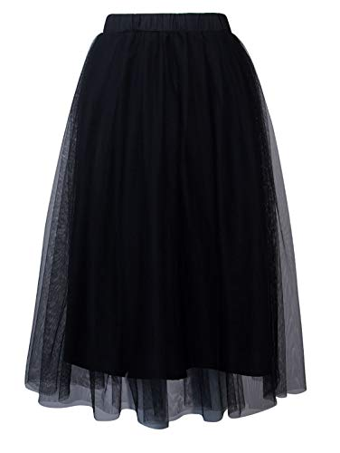 PERSUN Women's Elastic Waist Mesh Tulle Layer Pleated Party Midi Skirt,Black,Small
