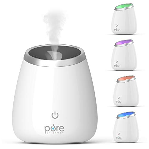 Pure Enrichment PureSpa Deluxe Ultrasonic Essential Oil Diffuser - 120ml Water Tank Lasts Up to 10 Hours While Generating Mood-Boosting Ions - Includes Optional Color-Changing Light and Auto Shut-Off