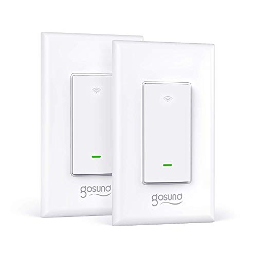 Smart Light Switch, Gosund 2.4Ghz WiFi Switch Works with Alexa, Google Assistant, Remote Control/Voice Control and Schedule, Neutral Wire Required, Single-Pole, No Hub Required, (2 Pack)