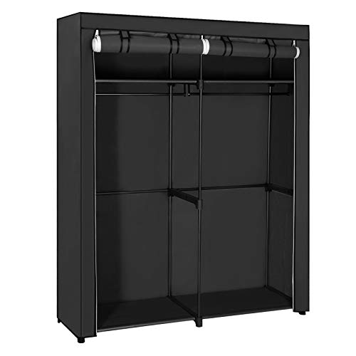 SONGMICS Closet Storage Organizer, Portable Wardrobe with 2 Hanging Rods, Clothes Rack, Foldable, Cloakroom, Study, Stable, 55.1 x 16.9 x 68.5 Inches, Black URYG02BK