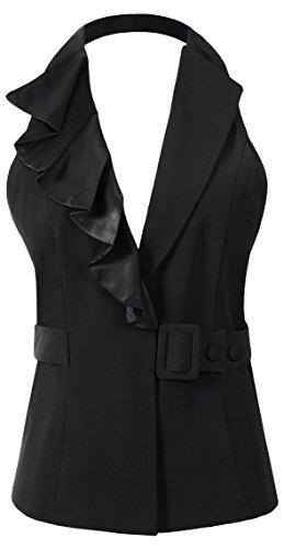 Vocni Womens Halter Neck Sleeveless Slim Fit Economy Dressy Suit Vest Waistcoat Black US S (Fit Bust 34.3-36.6)
