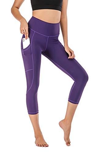 Chisportate High Waist Yoga Pants, Tummy Control Workout Pants for Women Super Soft Capri Leggings (Purple1, Medium)