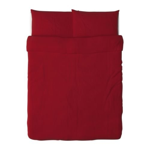 Ikea Dvala Duvet Cover and Pillowcases, Full/Queen, Red