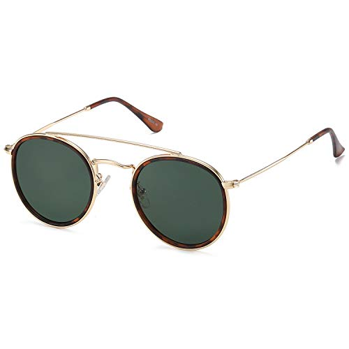 SOJOS Small Retro Round Polarized Sunglasses UV400 Double Bridge Sunnies SUNSET SJ1104 with Gold Frame/G15 Lens
