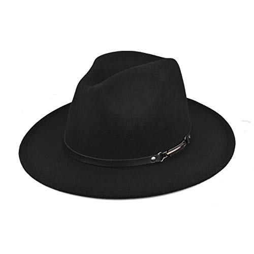 EINSKEY Women's Felt Fedora Hat, Wide Brim Panama Hat with Belt Buckle Trilby Hat Black