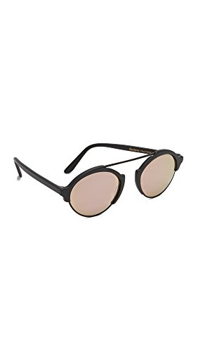 Illesteva Women's Milan III Mirrored Sunglasses, Matte Black/Rose Gold, One Size