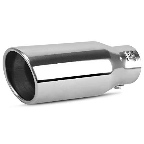 AUTOSAVER88 1.5-2.0 Inch Adjustable Inlet Exhaust Tip, Chrome Polished Stainless Steel Exhaust Tip, 3.5' OD Outlet, 9.0' Long, Bolt On Design.