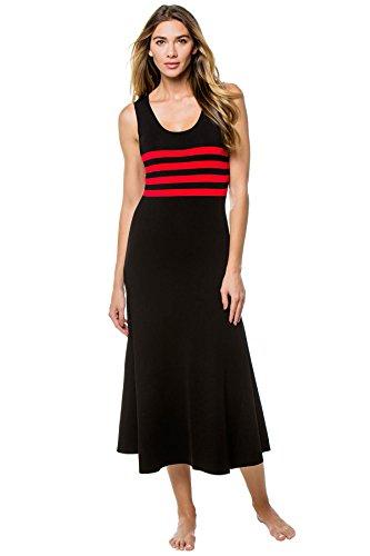 Cynthia Rowley Women's Riviera Striped Jersey Dress, red/Black, XS
