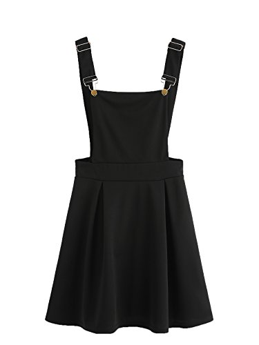 Romwe Women's Cute A Line Adjustable Straps Pleated Mini Overall Pinafore Dress Black S