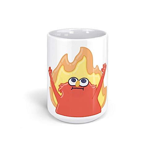 Generic Meme Elmo Flaming Hellmo Fire Red 15oz White Mug 5YS