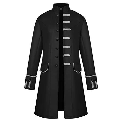 iCos Unisex Medieval Steampunk Coat Men Stand Collar Jacket Formal Halloween Costume Uniform (Medium, Black)