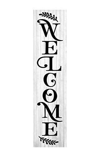 24 Inch Black and White Welcome Vertical Indoor Wood Print Sign