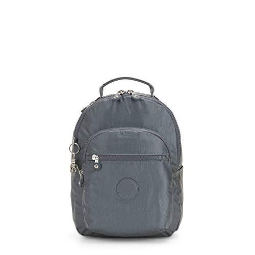 Kipling Seoul Small Metallic Tablet Backpack Steel Gr Metal
