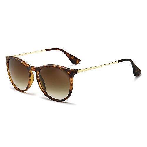 SUNGAIT Vintage Round Sunglasses for Women Girl Classic Retro Designer Style (Polarized Brown Gradient Lens/Amber Frame(Matte Finish)) 1567PG HPKC