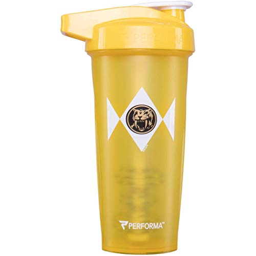 PERFORMA ACTIV (Power Rangers) 28oz Shaker Bottle, Best Leak Free Bottle with ActionRod Mixing Technology for Your Sports & Fitness Needs! Shatter Proof and Dishwasher Safe! (Yellow Ranger)